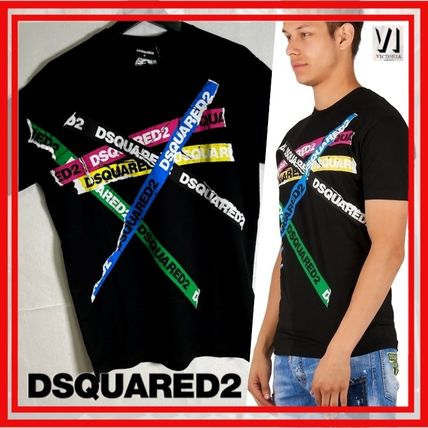 D SQUARED2 Crew Neck Suede Cotton Short Sleeves Logo Luxury