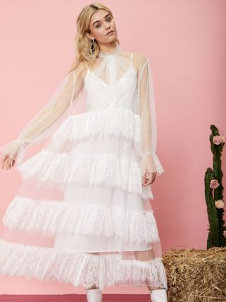 Casual Style Maxi Chiffon Flared Street Style Long Sleeves