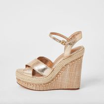 River Island Open Toe Platform Casual Style Faux Fur Blended Fabrics