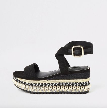River Island Open Toe Platform Casual Style Faux Fur Studded Street Style