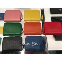 PRADA Saffiano Plain Leather Small Wallet Logo Coin Cases