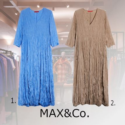 Casual Style Maxi Silk V-Neck Cropped Plain Long