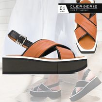 Robert Clergerie Open Toe Square Toe Platform Casual Style Plain Leather