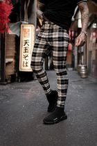 SINNERS ATTIRE Other Plaid Patterns Street Style Cotton Jeans