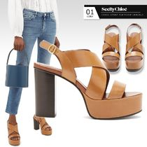 See by Chloe Open Toe Platform Round Toe Casual Style Plain Leather