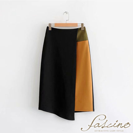 Pencil Skirts Bi-color Plain Medium Elegant Style Khaki