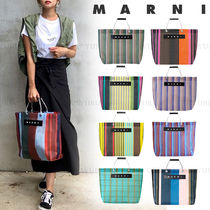 MARNI Stripes Other Plaid Patterns Unisex Nylon A4 Logo Totes