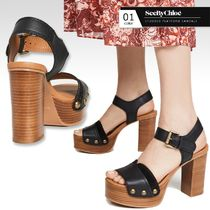See by Chloe Open Toe Platform Round Toe Casual Style Studded Plain