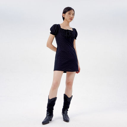 Short Casual Style A-line Street Style Plain Cotton