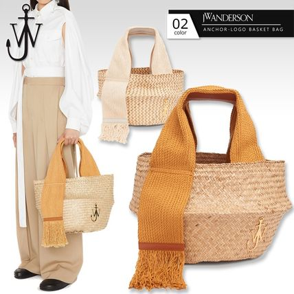Tassel Leather Logo Straw Bags