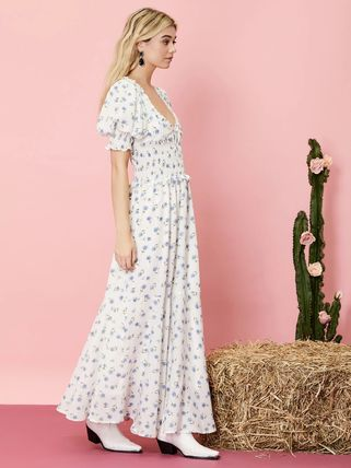 Flower Patterns Casual Style Maxi Chiffon Nylon Flared
