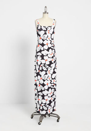 Flower Patterns Casual Style Tight Maxi Blended Fabrics