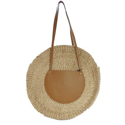 Blended Fabrics Plain Leather Straw Bags