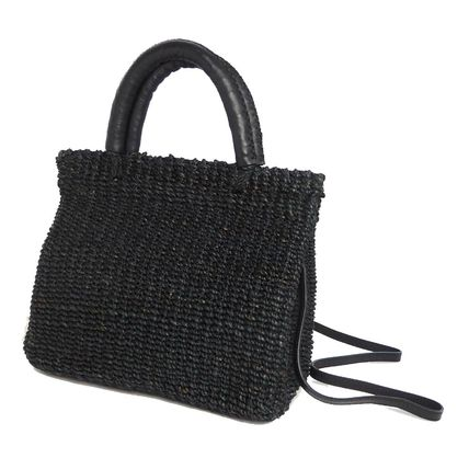 Blended Fabrics 2WAY Plain Leather Crossbody Straw Bags
