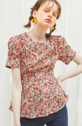 Flower Patterns Casual Style Cotton Medium Formal Style