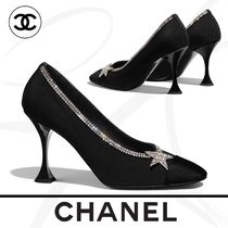 CHANEL Round Toe Casual Style Tweed Pin Heels Party Style