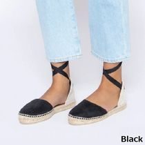 MANEBI Plain Toe Rubber Sole Lace-up Casual Style Suede Plain Flats