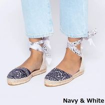 MANEBI Paisley Plain Toe Rubber Sole Lace-up Casual Style Flats