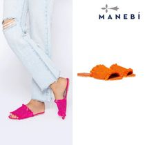 MANEBI Open Toe Casual Style Plain Party Style Fringes