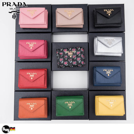 PRADA Leather Folding Wallet Folding Wallets