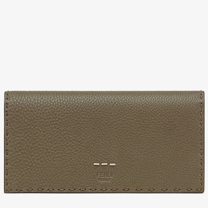 FENDI SELLERIA Unisex Calfskin Plain Leather Logo Long Wallets