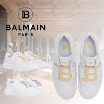 BALMAIN Rubber Sole Casual Style Plain Logo Low-Top Sneakers