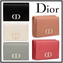 Christian Dior Unisex Calfskin Plain Folding Wallet Logo Folding Wallets