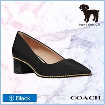 Coach Plain Leather Block Heels Office Style