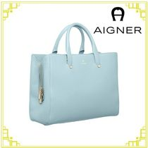 AIGNER Casual Style A4 2WAY Plain Leather Office Style