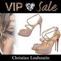 Christian Louboutin Open Toe Casual Style Plain Pin Heels Handmade Party Style