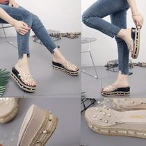 Open Toe Casual Style Flip Flops With Jewels Flat Sandals