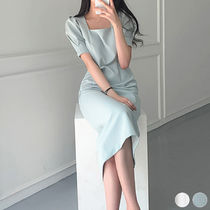 Tight Plain Medium Long Short Sleeves Midi Puff Sleeves