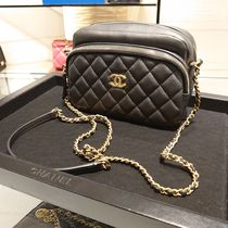 CHANEL Casual Style Calfskin Plain Leather Party Style