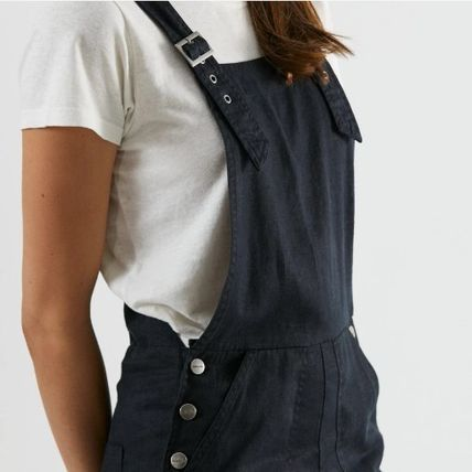 Dungarees Casual Style Linen Street Style Plain Long Logo