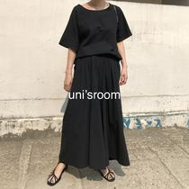 Crew Neck Casual Style Maxi A-line Dolman Sleeves Flared