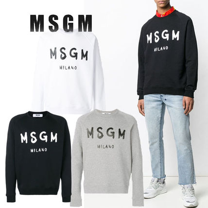 MSGM Crew Neck Pullovers Sweat Street Style Long Sleeves