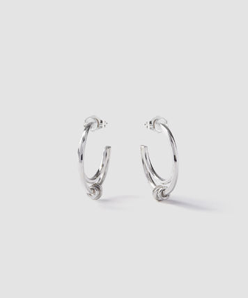 Silver Logo Earrings