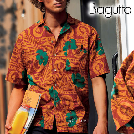 Tropical Patterns Cotton Short Sleeves Front Button Shirts
