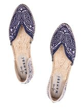 MANEBI Paisley Plain Toe Rubber Sole Casual Style Flats