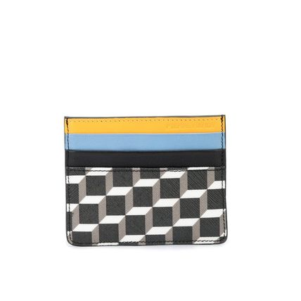 Street Style Leather Logo Card Holders