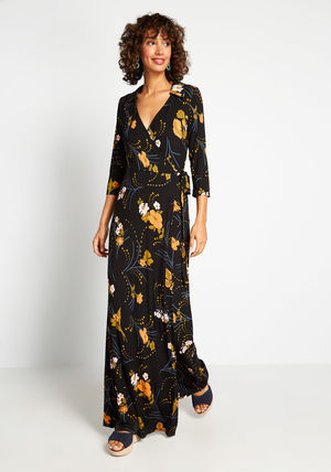 Wrap Dresses Flower Patterns Casual Style A-line