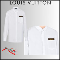 Louis Vuitton Long Sleeves Plain Cotton Logo Luxury Shirts
