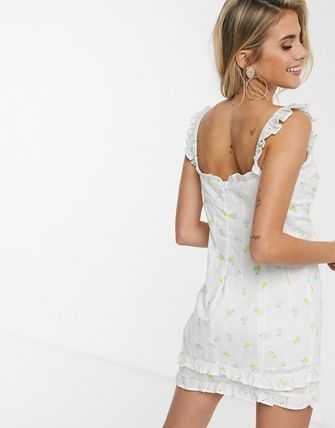 Short Flower Patterns Casual Style Sleeveless Cotton Dresses