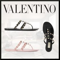 VALENTINO Open Toe Studded Leather Sandals Sandal