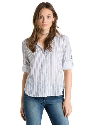 bella dahl Stripes Casual Style Cropped Office Style Shirts & Blouses
