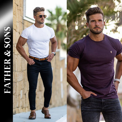 Father & Sons More T-Shirts Street Style Plain Short Sleeves T-Shirts