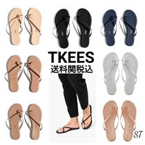 TKEES Open Toe Rubber Sole Casual Style Suede Plain Leather