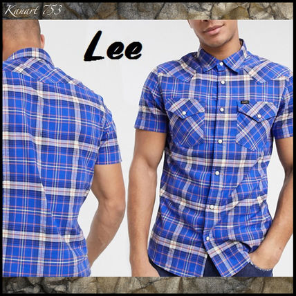 Other Plaid Patterns Street Style Cotton Short Sleeves Logo