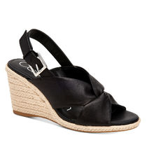 Calvin Klein Rubber Sole Plain Leather Logo Platform & Wedge Sandals