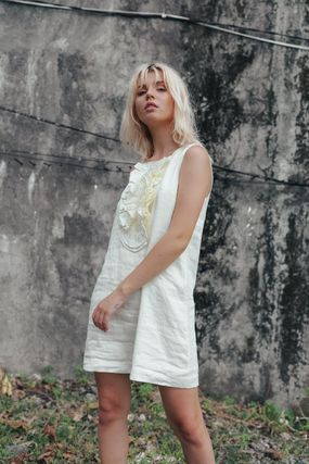 Short Casual Style A-line Linen Sleeveless Flared Plain